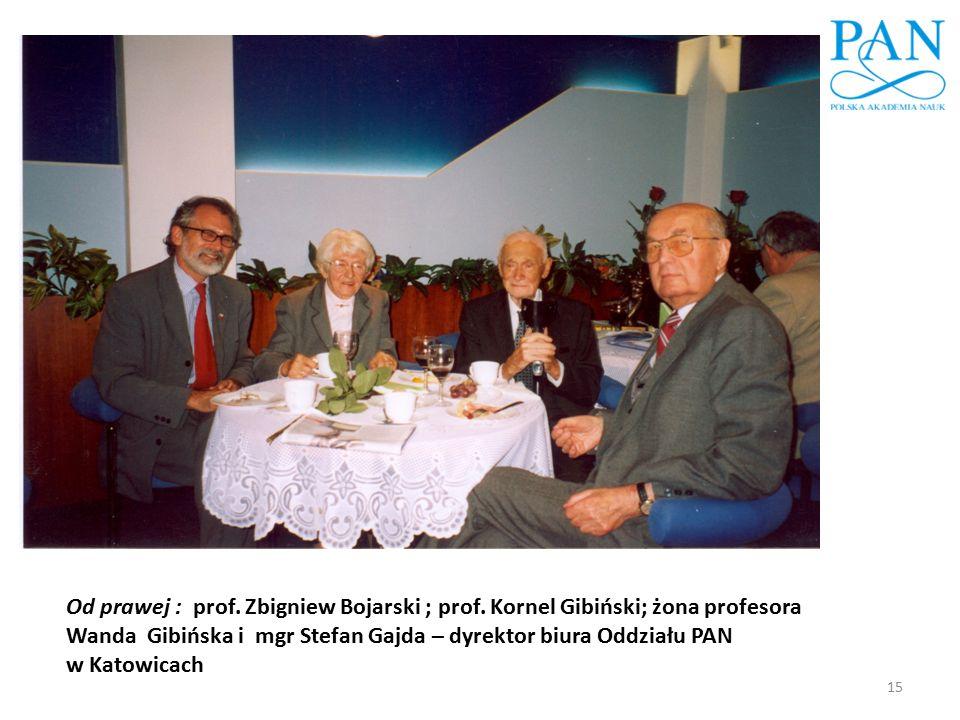 15 Od prawej : prof. Zbigniew Bojarski ; prof. Kornel Gibiński; żona profesora Wanda Gibińska i mgr Stefan Gajda – dyrektor biura Oddziału PAN w Katow