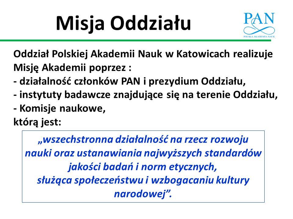 Misja Oddziału Oddział Polskiej Akademii Nauk w Katowicach realizuje Misję Akademii poprzez : - działalność członków PAN i prezydium Oddziału, - insty
