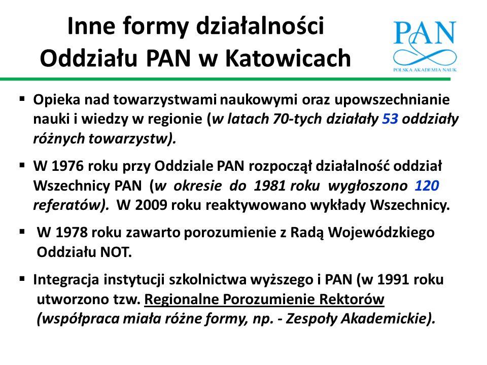 Inne formy działalności Oddziału PAN w Katowicach  Opieka nad towarzystwami naukowymi oraz upowszechnianie nauki i wiedzy w regionie (w latach 70-tyc