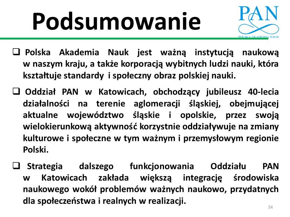 Podsumowanie  Polska Akademia Nauk jest ważną instytucją naukową w naszym kraju, a także korporacją wybitnych ludzi nauki, która kształtuje standardy