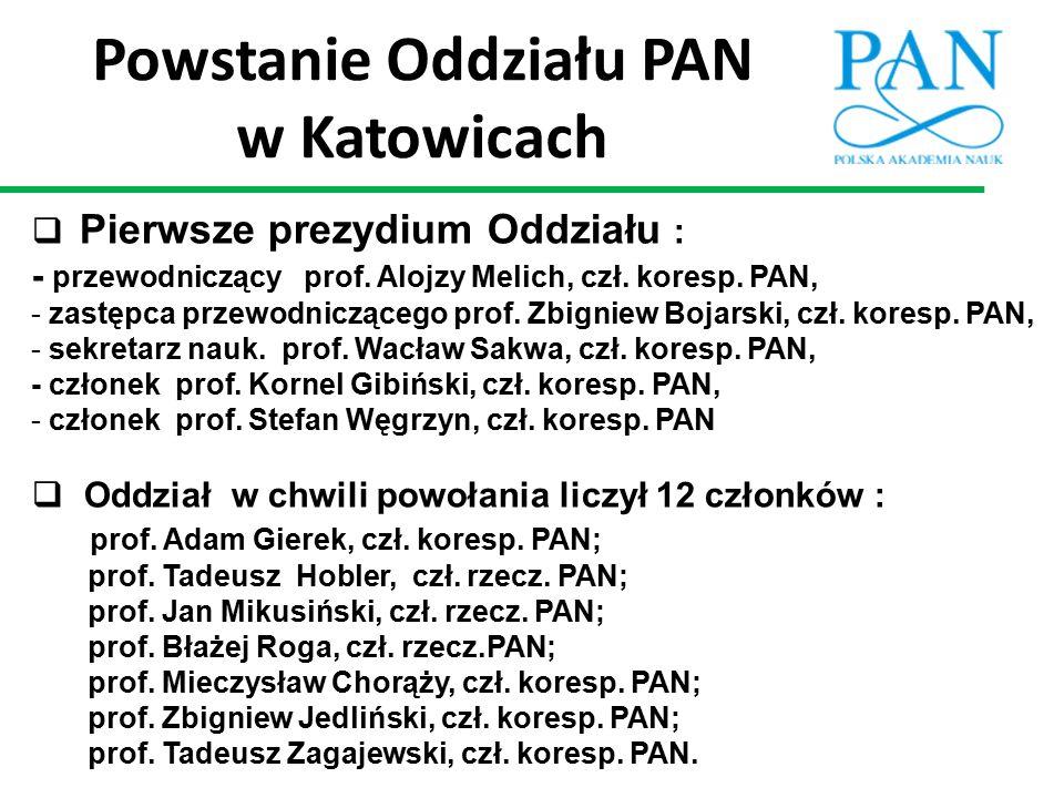  Pierwsze prezydium Oddziału : - przewodniczący prof. Alojzy Melich, czł. koresp. PAN, - zastępca przewodniczącego prof. Zbigniew Bojarski, czł. kore
