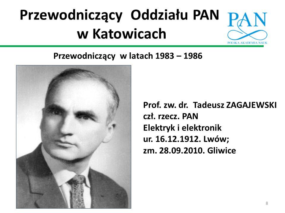 Przewodniczący w latach 1983 – 1986 Prof. zw. dr. Tadeusz ZAGAJEWSKI czł. rzecz. PAN Elektryk i elektronik ur. 16.12.1912. Lwów; zm. 28.09.2010. Gliwi