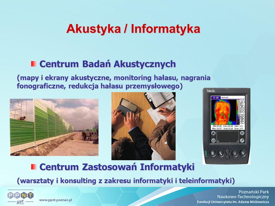 Akustyka / Informatyka Centrum Badań Akustycznych Centrum Badań Akustycznych (mapy i ekrany akustyczne, monitoring hałasu, nagrania fonograficzne, red