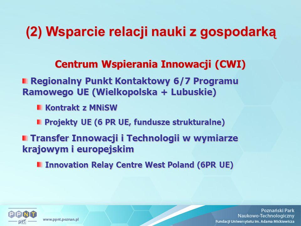 (2) Wsparcie relacji nauki z gospodarką Centrum Wspierania Innowacji (CWI) Regionalny Punkt Kontaktowy 6/7 Programu Ramowego UE (Wielkopolska + Lubuskie) Regionalny Punkt Kontaktowy 6/7 Programu Ramowego UE (Wielkopolska + Lubuskie) Kontrakt z MNiSW Kontrakt z MNiSW Projekty UE (6 PR UE, fundusze strukturalne) Projekty UE (6 PR UE, fundusze strukturalne) Transfer Innowacji i Technologii w wymiarze krajowym i europejskim Transfer Innowacji i Technologii w wymiarze krajowym i europejskim Innovation Relay Centre West Poland (6PR UE) Innovation Relay Centre West Poland (6PR UE)