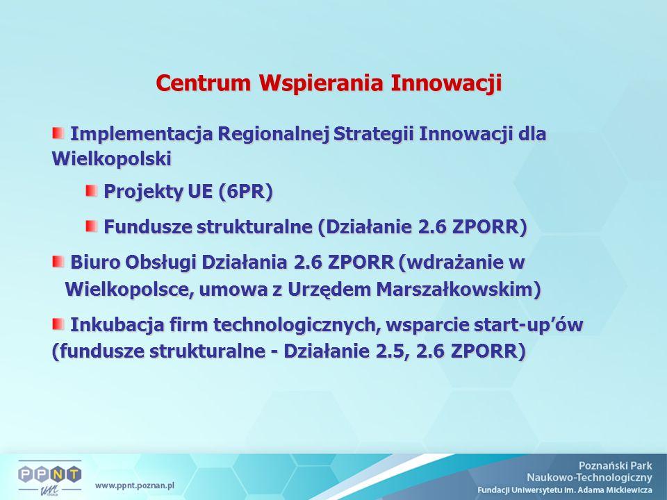 Centrum Wspierania Innowacji Implementacja Regionalnej Strategii Innowacji dla Wielkopolski Implementacja Regionalnej Strategii Innowacji dla Wielkopolski Projekty UE (6PR) Projekty UE (6PR) Fundusze strukturalne (Działanie 2.6 ZPORR) Fundusze strukturalne (Działanie 2.6 ZPORR) Biuro Obsługi Działania 2.6 ZPORR (wdrażanie w Wielkopolsce, umowa z Urzędem Marszałkowskim) Biuro Obsługi Działania 2.6 ZPORR (wdrażanie w Wielkopolsce, umowa z Urzędem Marszałkowskim) Inkubacja firm technologicznych, wsparcie start-up'ów (fundusze strukturalne - Działanie 2.5, 2.6 ZPORR) Inkubacja firm technologicznych, wsparcie start-up'ów (fundusze strukturalne - Działanie 2.5, 2.6 ZPORR)
