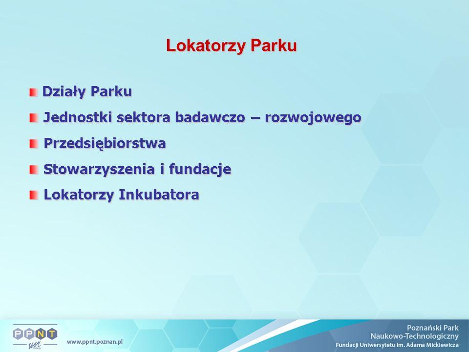 Lokatorzy Parku Działy Parku Działy Parku Jednostki sektora badawczo – rozwojowego Jednostki sektora badawczo – rozwojowego Przedsiębiorstwa Przedsięb