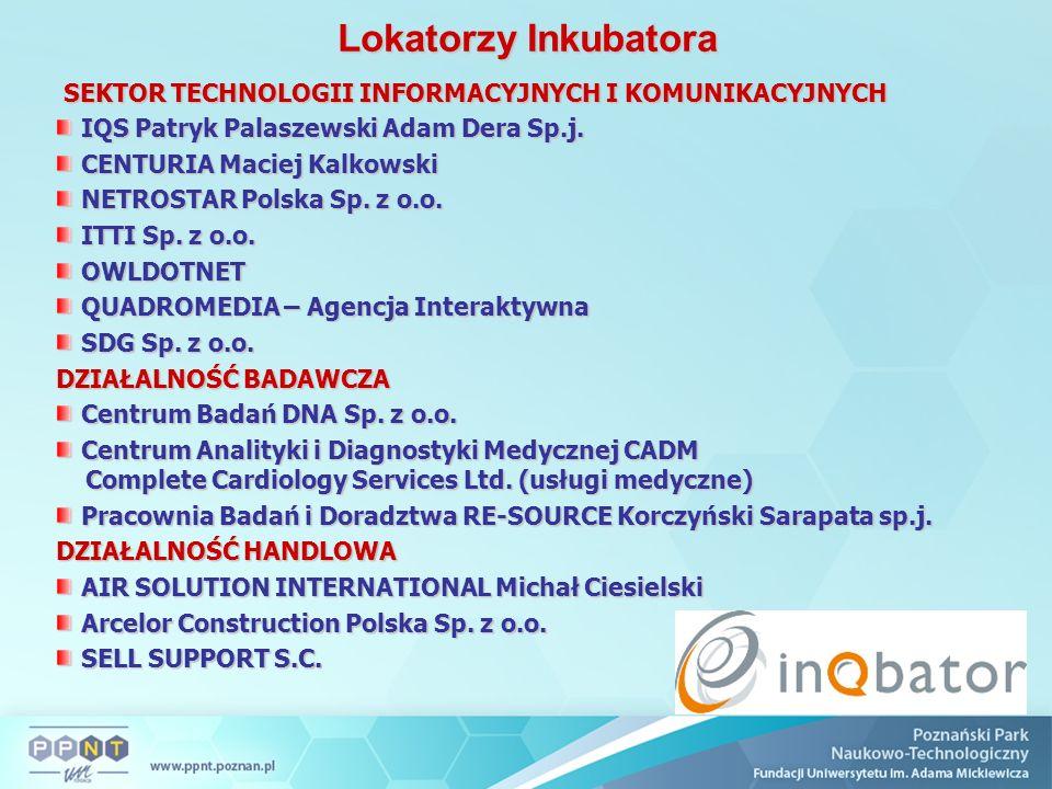 Lokatorzy Inkubatora SEKTOR TECHNOLOGII INFORMACYJNYCH I KOMUNIKACYJNYCH SEKTOR TECHNOLOGII INFORMACYJNYCH I KOMUNIKACYJNYCH IQS Patryk Palaszewski Adam Dera Sp.j.