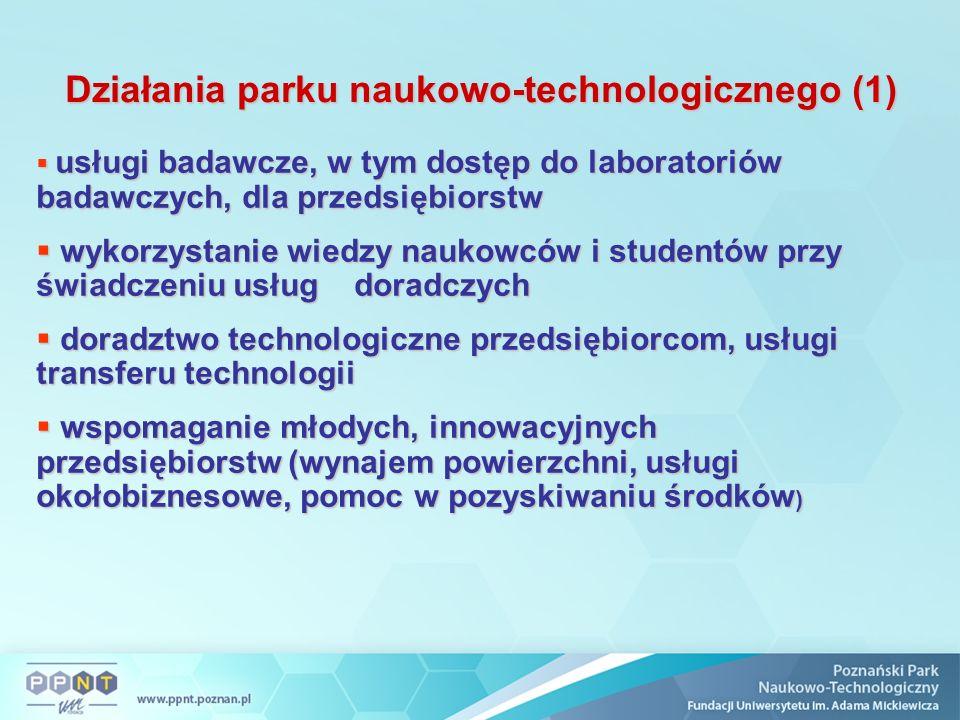 Działania parku naukowo-technologicznego (1)  usługi badawcze, w tym dostęp do laboratoriów badawczych, dla przedsiębiorstw  wykorzystanie wiedzy na