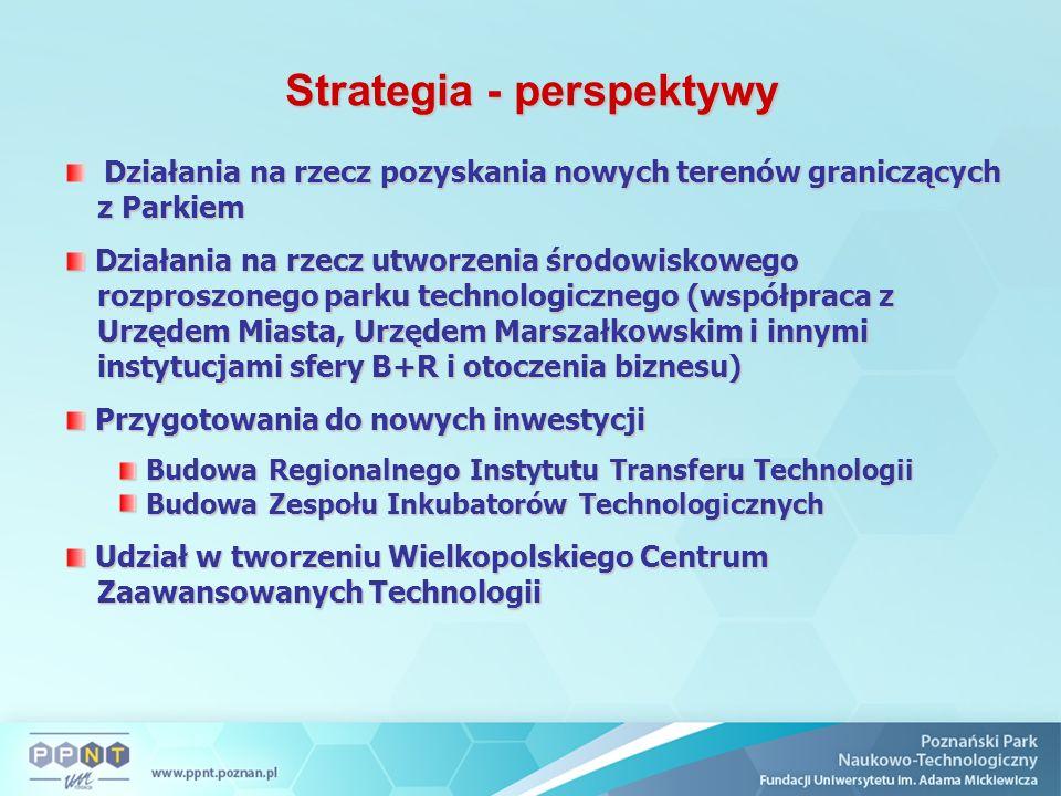 Strategia - perspektywy Działania na rzecz pozyskania nowych terenów graniczących z Parkiem Działania na rzecz utworzenia środowiskowego rozproszonego parku technologicznego (współpraca z Urzędem Miasta, Urzędem Marszałkowskim i innymi instytucjami sfery B+R i otoczenia biznesu) Działania na rzecz utworzenia środowiskowego rozproszonego parku technologicznego (współpraca z Urzędem Miasta, Urzędem Marszałkowskim i innymi instytucjami sfery B+R i otoczenia biznesu) Przygotowania do nowych inwestycji Przygotowania do nowych inwestycji Budowa Regionalnego Instytutu Transferu Technologii Budowa Regionalnego Instytutu Transferu Technologii Budowa Zespołu Inkubatorów Technologicznych Budowa Zespołu Inkubatorów Technologicznych Udział w tworzeniu Wielkopolskiego Centrum Zaawansowanych Technologii Udział w tworzeniu Wielkopolskiego Centrum Zaawansowanych Technologii