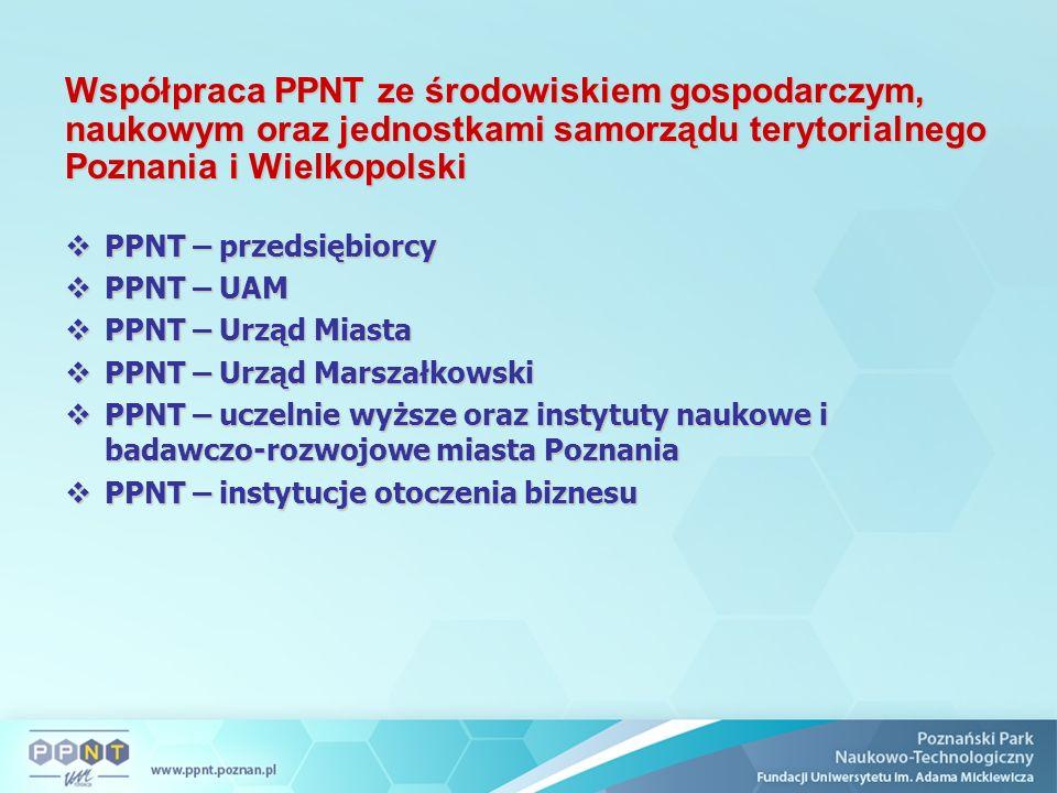 Współpraca PPNT ze środowiskiem gospodarczym, naukowym oraz jednostkami samorządu terytorialnego Poznania i Wielkopolski  PPNT – przedsiębiorcy  PPN