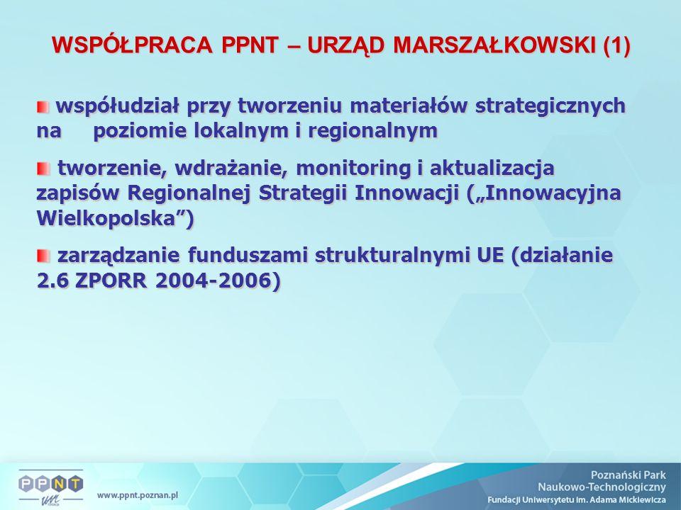"""WSPÓŁPRACA PPNT – URZĄD MARSZAŁKOWSKI (1) współudział przy tworzeniu materiałów strategicznych na poziomie lokalnym i regionalnym współudział przy tworzeniu materiałów strategicznych na poziomie lokalnym i regionalnym tworzenie, wdrażanie, monitoring i aktualizacja zapisów Regionalnej Strategii Innowacji (""""Innowacyjna Wielkopolska ) tworzenie, wdrażanie, monitoring i aktualizacja zapisów Regionalnej Strategii Innowacji (""""Innowacyjna Wielkopolska ) zarządzanie funduszami strukturalnymi UE (działanie 2.6 ZPORR 2004-2006) zarządzanie funduszami strukturalnymi UE (działanie 2.6 ZPORR 2004-2006)"""