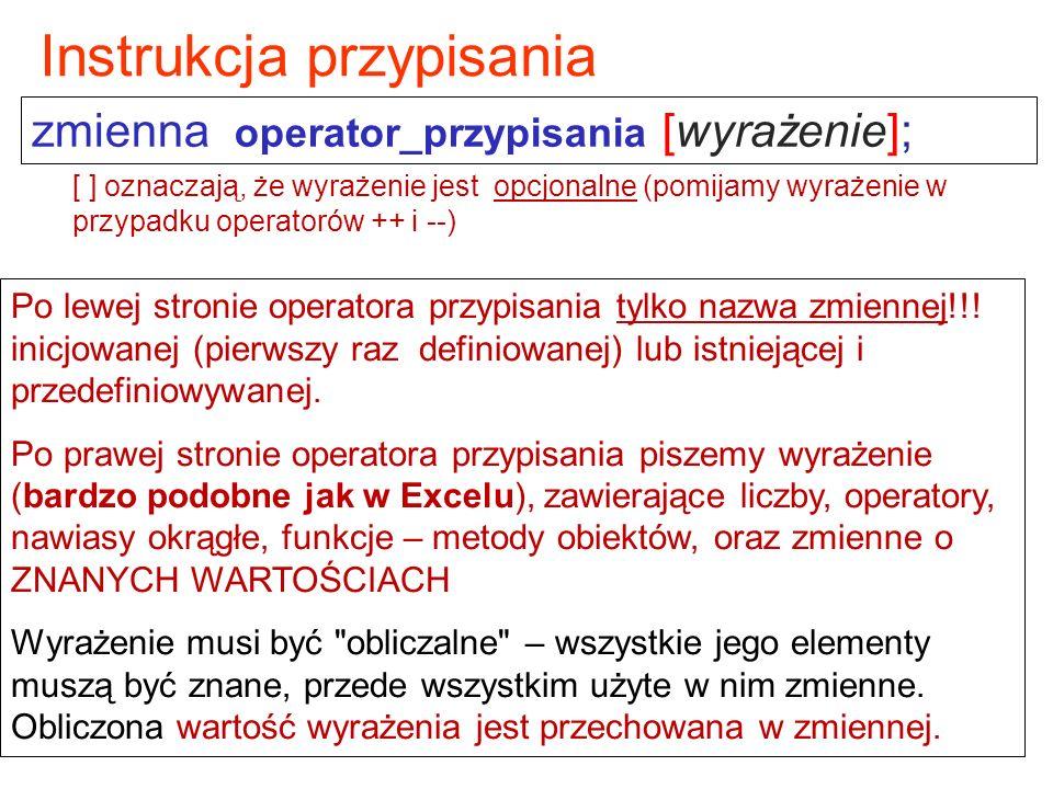 zmienna operator_przypisania [wyrażenie]; Instrukcja przypisania Po lewej stronie operatora przypisania tylko nazwa zmiennej!!.