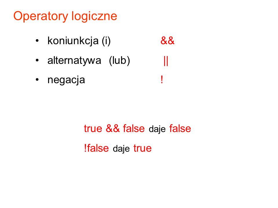 koniunkcja (i)&& alternatywa (lub) || negacja .