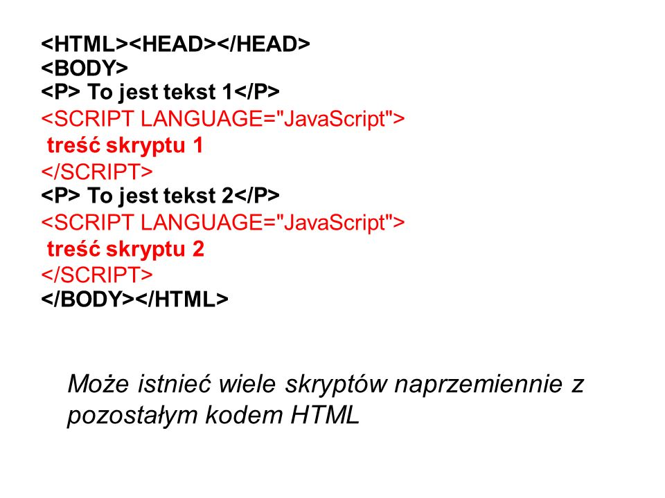 Instrukcja wypisania na ekranie document.write (elementy); document to wbudowany obiekt w JavaScript, a write (pisz) to jedna z jego funkcji (tzw.