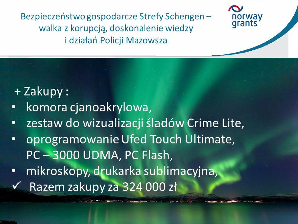 Bezpieczeństwo gospodarcze Strefy Schengen – walka z korupcją, doskonalenie wiedzy i działań Policji Mazowsza + Zakupy : komora cjanoakrylowa, zestaw do wizualizacji śladów Crime Lite, oprogramowanie Ufed Touch Ultimate, PC – 3000 UDMA, PC Flash, mikroskopy, drukarka sublimacyjna, Razem zakupy za 324 000 zł