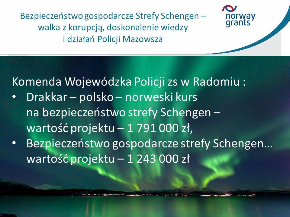 Bezpieczeństwo gospodarcze Strefy Schengen – walka z korupcją, doskonalenie wiedzy i działań Policji Mazowsza Komenda Wojewódzka Policji zs w Radomiu : Drakkar – polsko – norweski kurs na bezpieczeństwo strefy Schengen – wartość projektu – 1 791 000 zł, Bezpieczeństwo gospodarcze strefy Schengen… wartość projektu – 1 243 000 zł