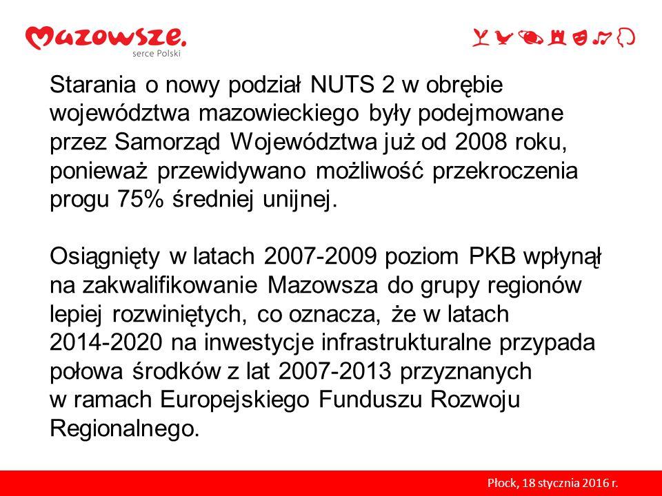 Starania o nowy podział NUTS 2 w obrębie województwa mazowieckiego były podejmowane przez Samorząd Województwa już od 2008 roku, ponieważ przewidywano