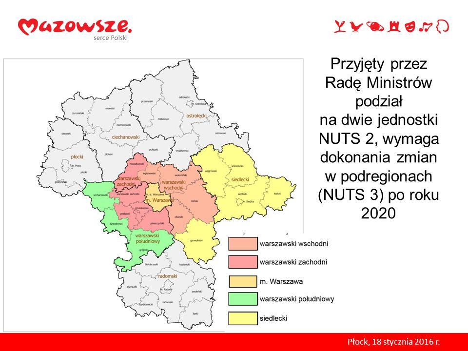 Przyjęty przez Radę Ministrów podział na dwie jednostki NUTS 2, wymaga dokonania zmian w podregionach (NUTS 3) po roku 2020 Płock, 18 stycznia 2016 r.