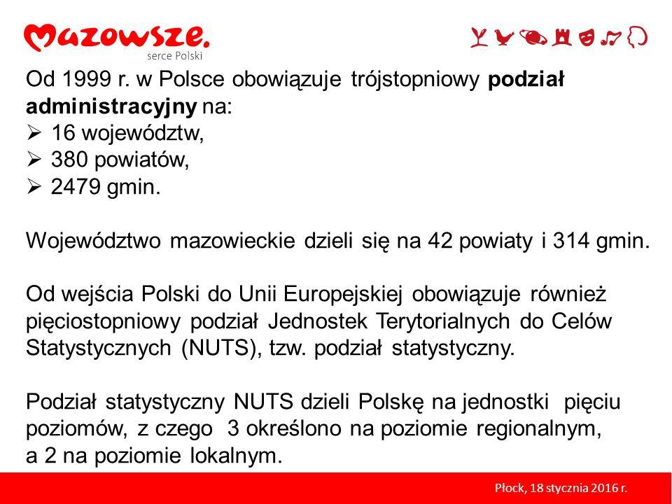 Od 1999 r. w Polsce obowiązuje trójstopniowy podział administracyjny na:  16 województw,  380 powiatów,  2479 gmin. Województwo mazowieckie dzieli