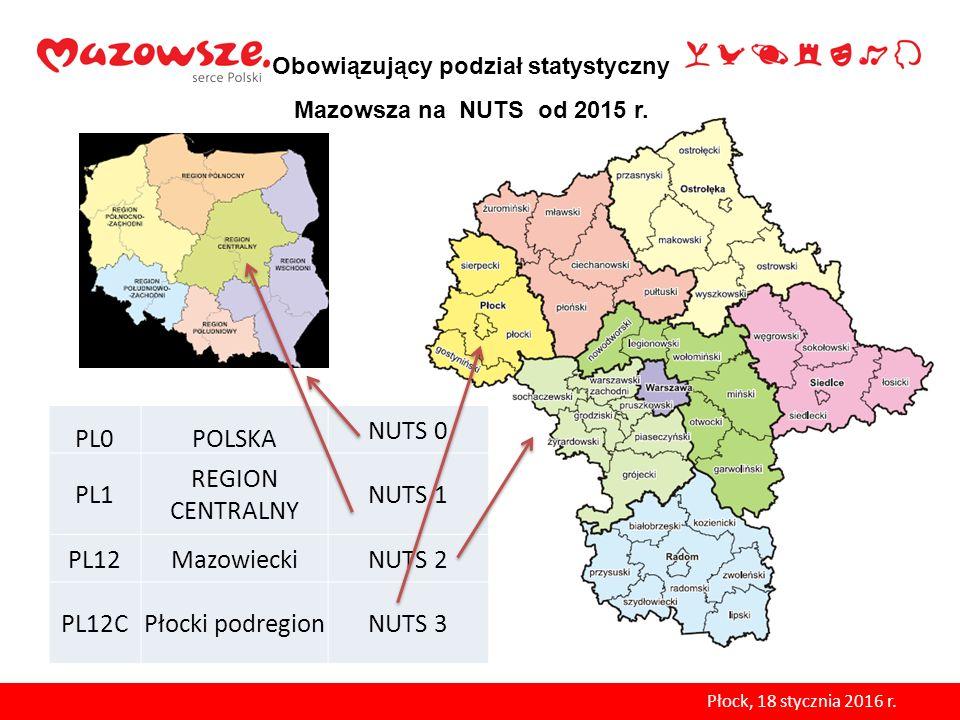 PL0POLSKA NUTS 0 PL1 REGION CENTRALNY NUTS 1 PL12MazowieckiNUTS 2 PL12CPłocki podregionNUTS 3 Obowiązujący podział statystyczny Mazowsza na NUTS od 20