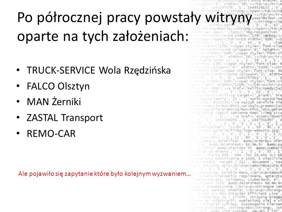 Po półrocznej pracy powstały witryny oparte na tych założeniach: TRUCK-SERVICE Wola Rzędzińska FALCO Olsztyn MAN Żerniki ZASTAL Transport REMO-CAR Ale pojawiło się zapytanie które było kolejnym wyzwaniem…