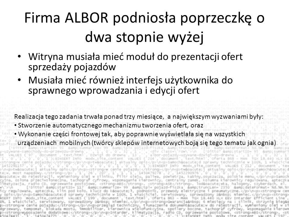 Firma ALBOR podniosła poprzeczkę o dwa stopnie wyżej Witryna musiała mieć moduł do prezentacji ofert sprzedaży pojazdów Musiała mieć również interfejs