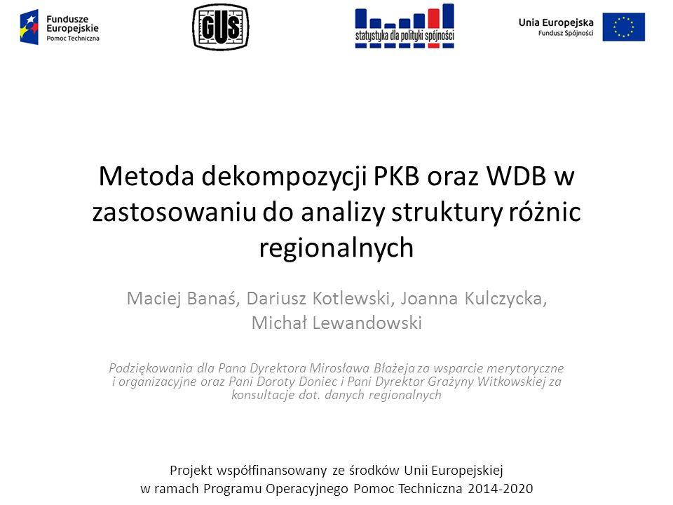 Cel i metoda Cel: identyfikacja źródeł zróżnicowania regionalnego Polski w aspekcie wzrostu PKB per capita oraz poziomu WDB per capita przy użyciu powszechnie stosowanych wskaźników statystyki oficjalnej.