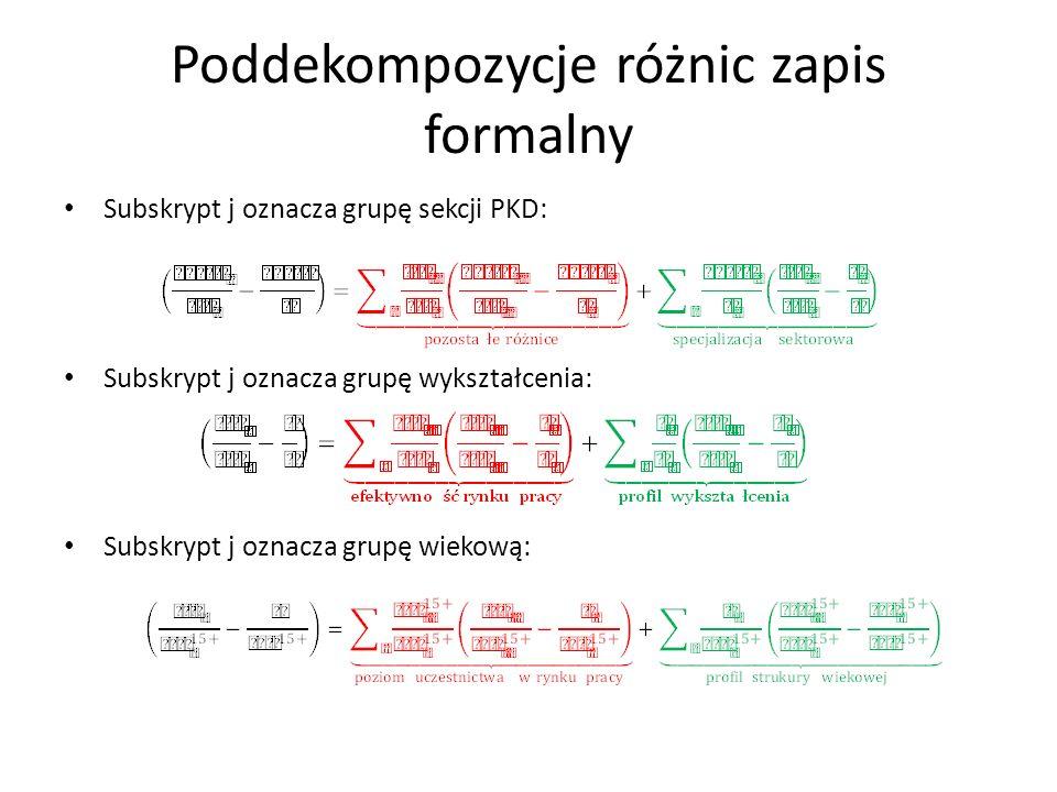 Poddekompozycje różnic zapis formalny Subskrypt j oznacza grupę sekcji PKD: Subskrypt j oznacza grupę wykształcenia: Subskrypt j oznacza grupę wiekową