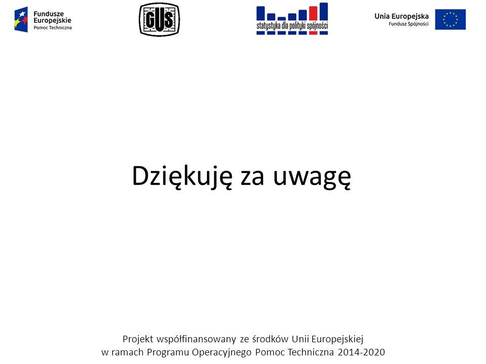 Dziękuję za uwagę Projekt współfinansowany ze środków Unii Europejskiej w ramach Programu Operacyjnego Pomoc Techniczna 2014-2020