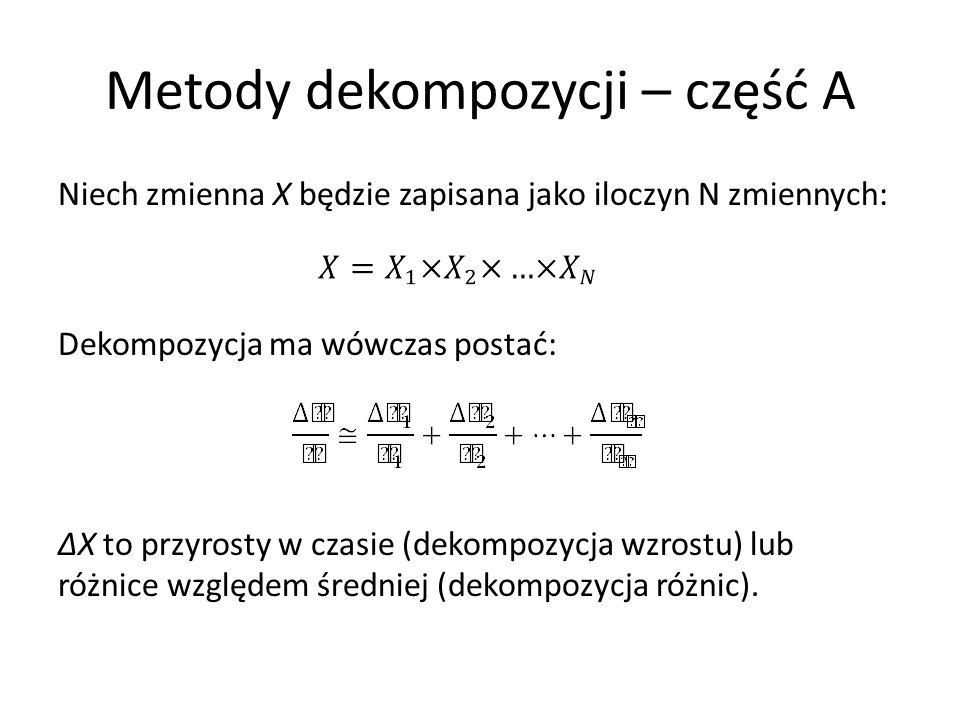 Metody dekompozycji – część A Niech zmienna X będzie zapisana jako iloczyn N zmiennych: Dekompozycja ma wówczas postać: ∆X to przyrosty w czasie (deko