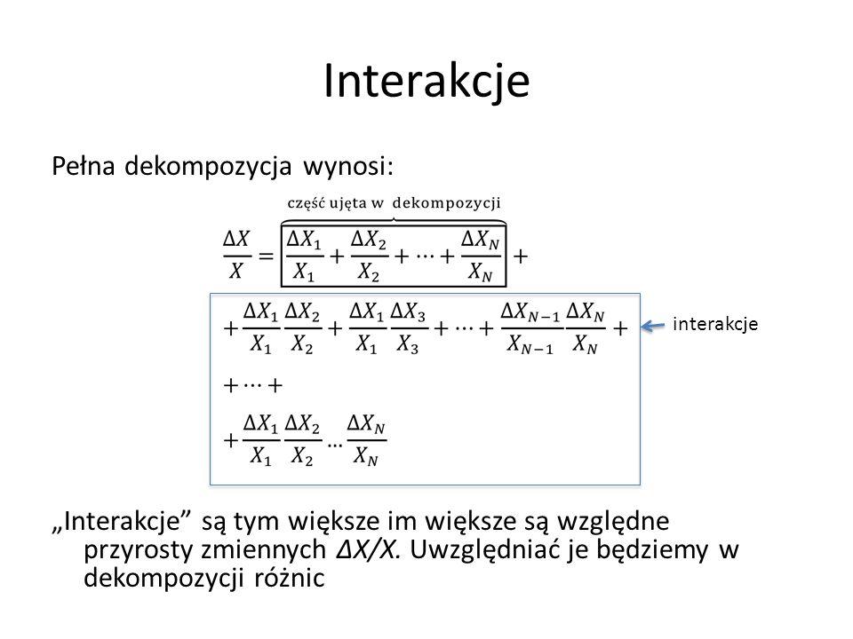 Dekompozycja przyrostu WDB dla wszystkich województw, grup sekcji lub sekcji oraz jednocześnie województw i grup sekcji lub sekcji Cztery przykłady dla województw
