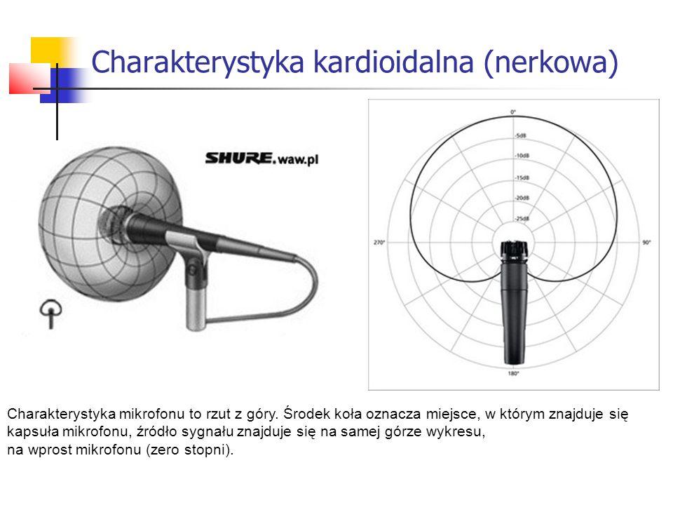Charakterystyka mikrofonu to rzut z góry. Środek koła oznacza miejsce, w którym znajduje się kapsuła mikrofonu, źródło sygnału znajduje się na samej g