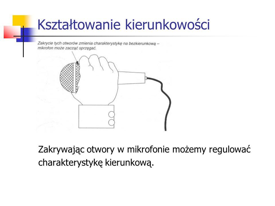 Kształtowanie kierunkowości Zakrywając otwory w mikrofonie możemy regulować charakterystykę kierunkową.