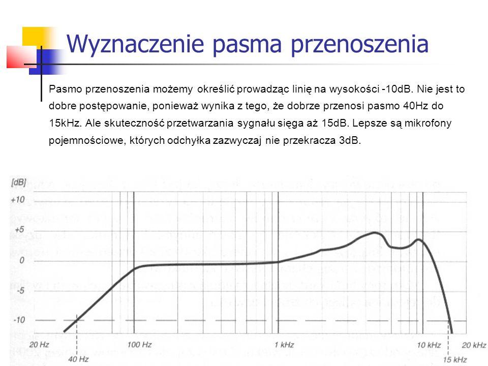 Wyznaczenie pasma przenoszenia Pasmo przenoszenia możemy określić prowadząc linię na wysokości -10dB. Nie jest to dobre postępowanie, ponieważ wynika
