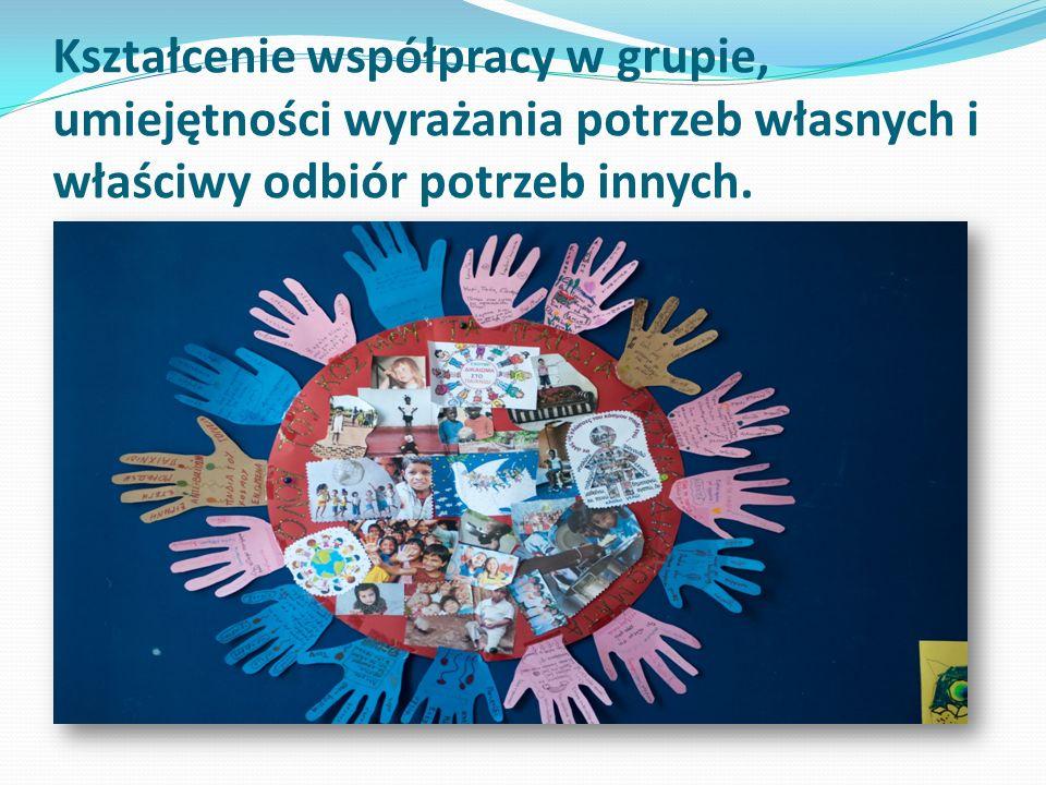 Kształcenie współpracy w grupie, umiejętności wyrażania potrzeb własnych i właściwy odbiór potrzeb innych.