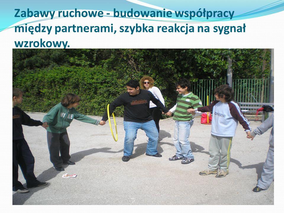 Zabawy ruchowe - budowanie współpracy między partnerami, szybka reakcja na sygnał wzrokowy.