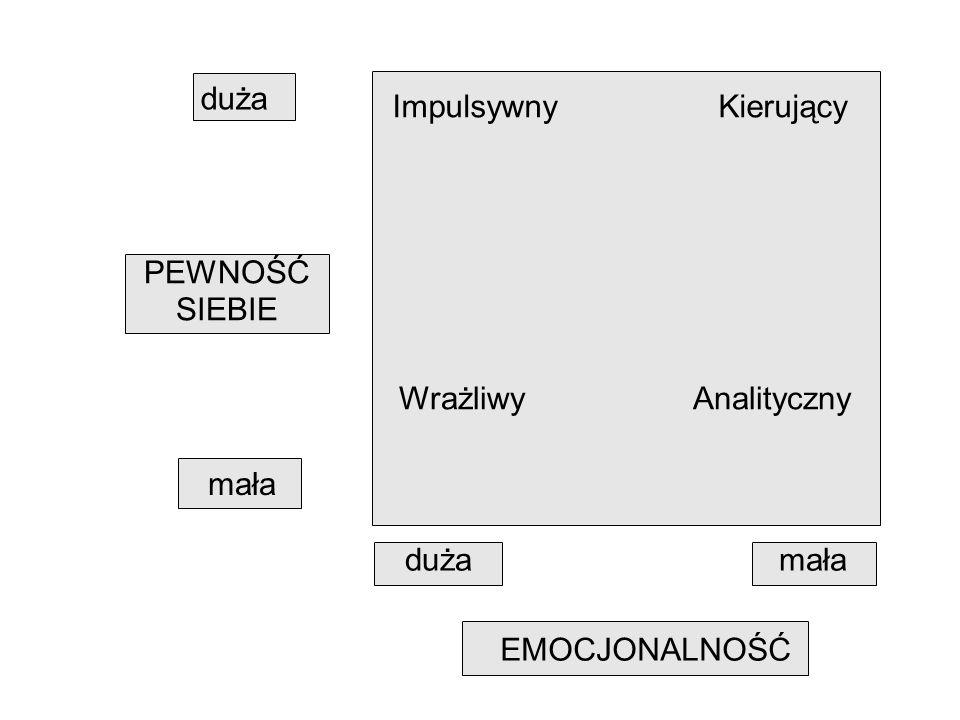 duża mała PEWNOŚĆ SIEBIE EMOCJONALNOŚĆ dużamała Impulsywny Kierujący Wrażliwy Analityczny