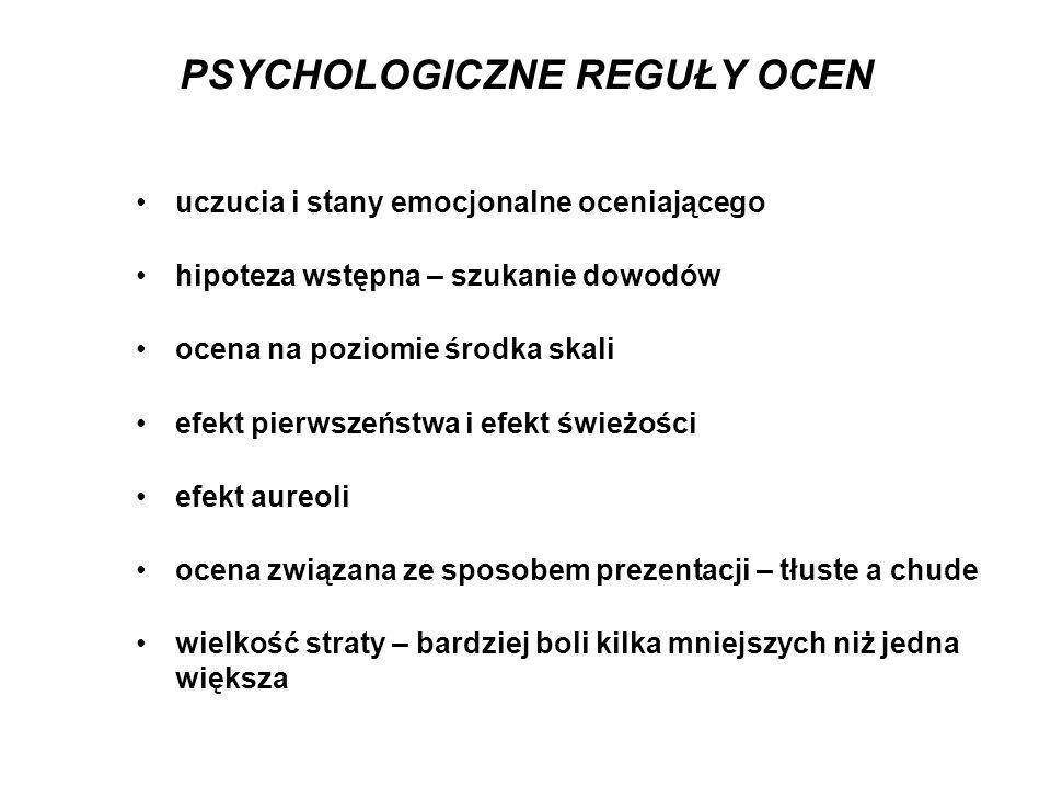 PSYCHOLOGICZNE REGUŁY OCEN uczucia i stany emocjonalne oceniającego hipoteza wstępna – szukanie dowodów ocena na poziomie środka skali efekt pierwszeń