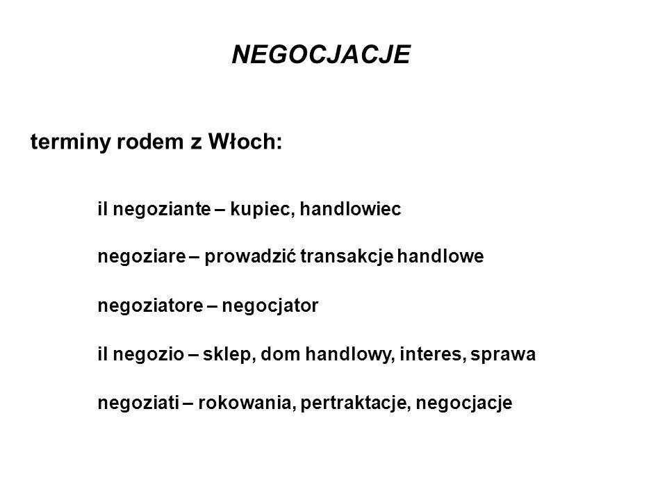 terminy rodem z Włoch: il negoziante – kupiec, handlowiec negoziare – prowadzić transakcje handlowe negoziatore – negocjator il negozio – sklep, dom h