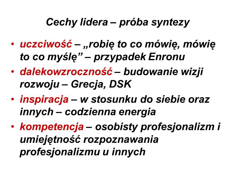 """Cechy lidera – próba syntezy uczciwość – """"robię to co mówię, mówię to co myślę"""" – przypadek Enronu dalekowzroczność – budowanie wizji rozwoju – Grecja"""
