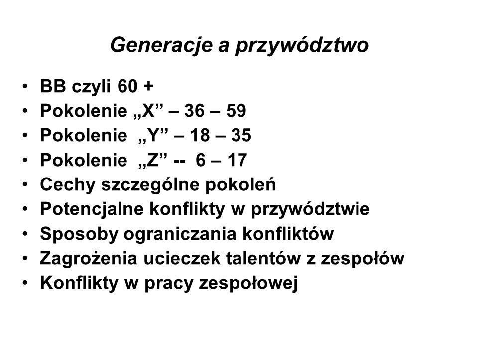 """Generacje a przywództwo BB czyli 60 + Pokolenie """"X"""" – 36 – 59 Pokolenie """"Y"""" – 18 – 35 Pokolenie """"Z"""" -- 6 – 17 Cechy szczególne pokoleń Potencjalne kon"""