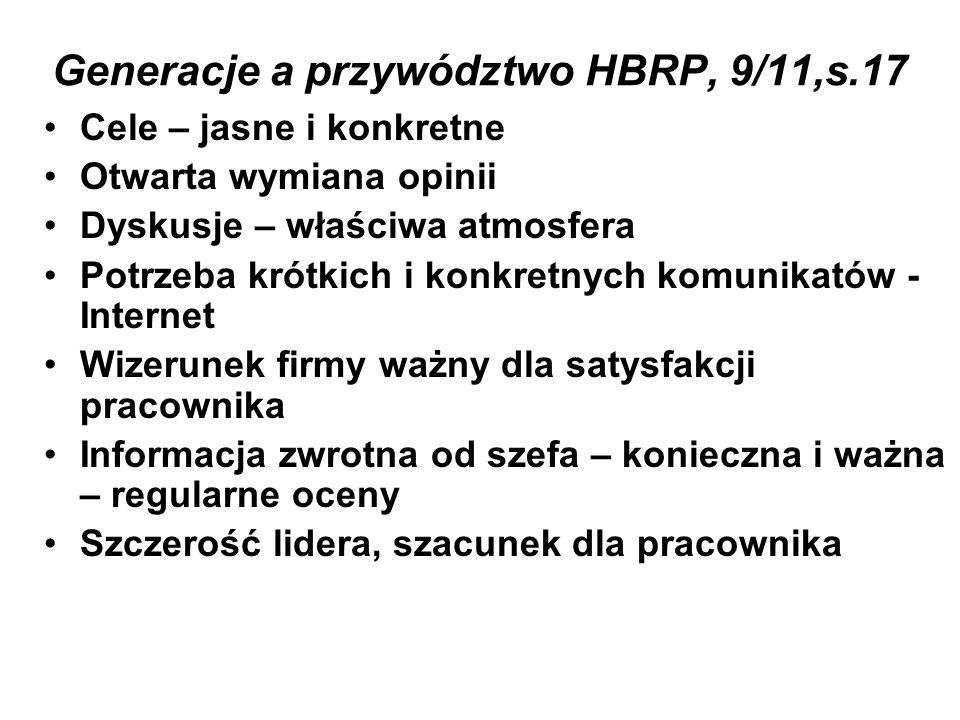 Generacje a przywództwo HBRP, 9/11,s.17 Cele – jasne i konkretne Otwarta wymiana opinii Dyskusje – właściwa atmosfera Potrzeba krótkich i konkretnych