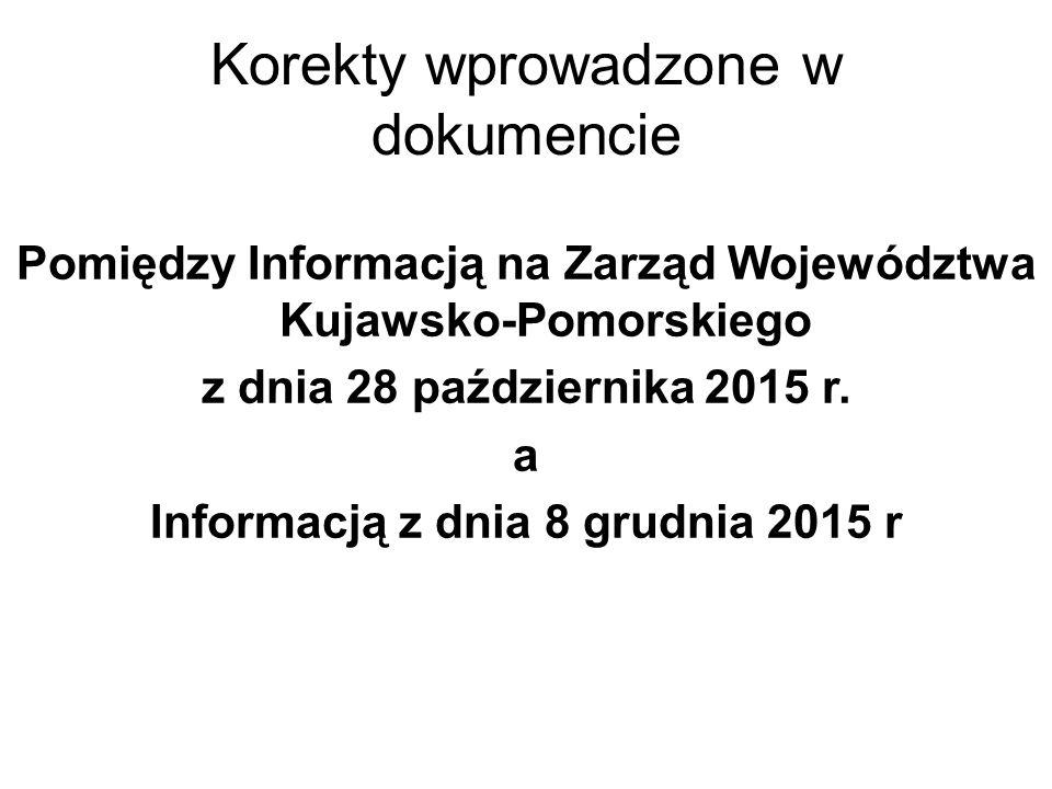 Korekty wprowadzone w dokumencie Pomiędzy Informacją na Zarząd Województwa Kujawsko-Pomorskiego z dnia 28 października 2015 r.