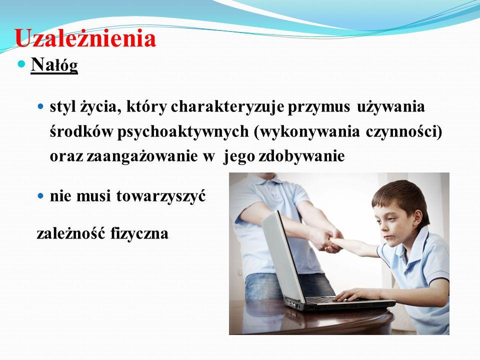 Uzależnienia Na łóg styl życia, który charakteryzuje przymus używania środków psychoaktywnych (wykonywania czynności) oraz zaangażowanie w jego zdobyw