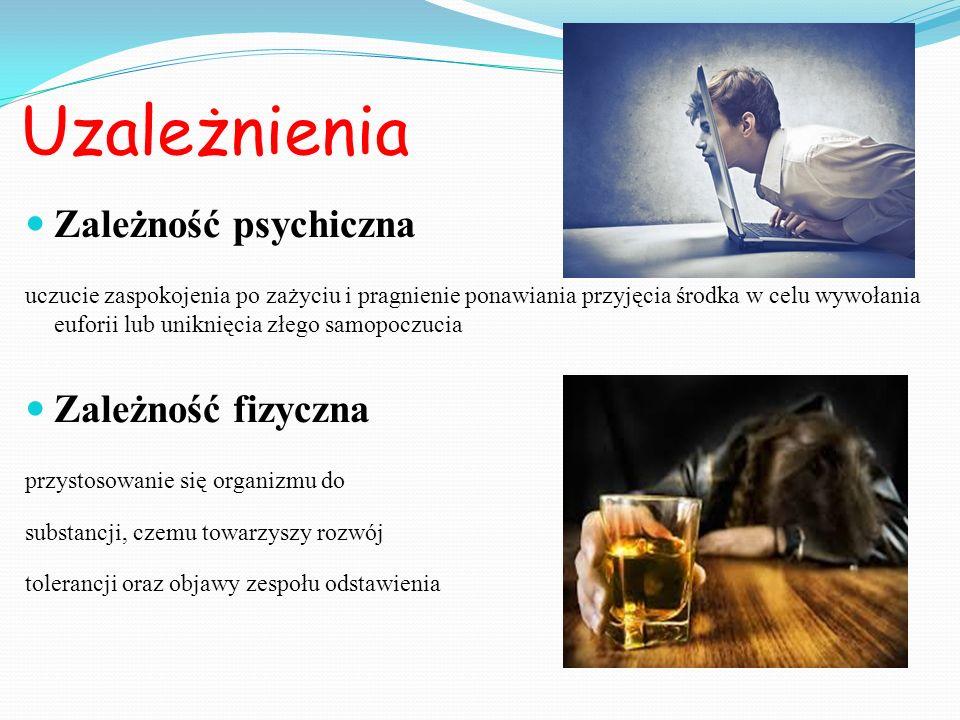 Uzależnienia Zależność psychiczna uczucie zaspokojenia po zażyciu i pragnienie ponawiania przyjęcia środka w celu wywołania euforii lub uniknięcia złe