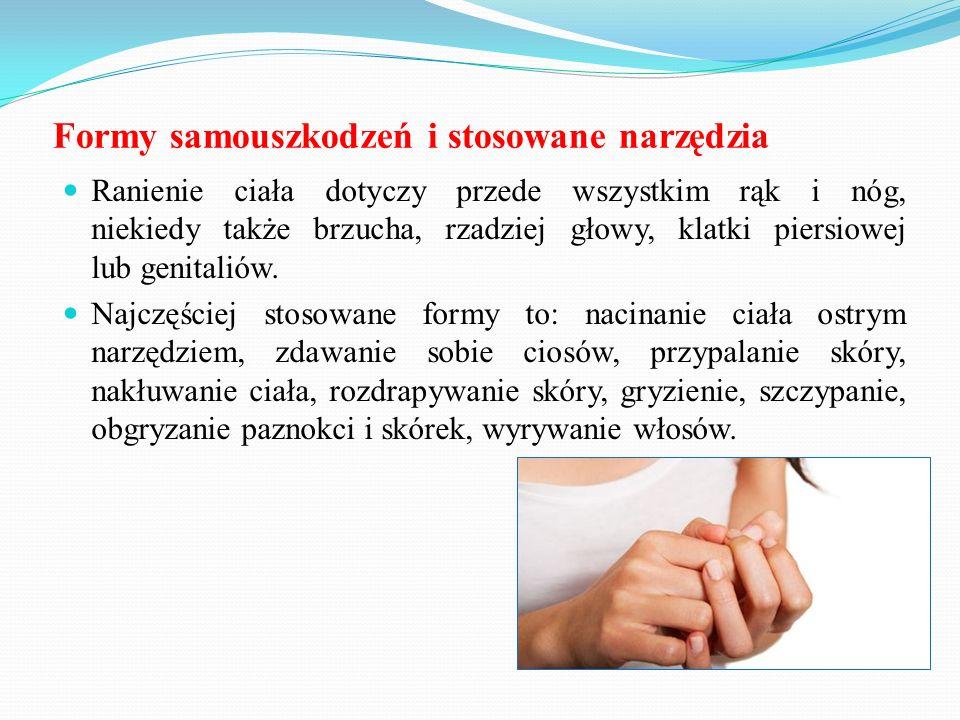 Ranienie ciała dotyczy przede wszystkim rąk i nóg, niekiedy także brzucha, rzadziej głowy, klatki piersiowej lub genitaliów. Najczęściej stosowane for