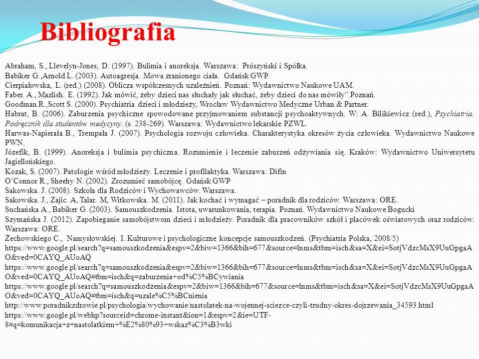 Bibliografia Abraham, S., Llevelyn-Jones, D. (1997). Bulimia i anoreksja. Warszawa: Prószyński i Spółka. Babiker G.,Arnold L. (2003). Autoagresja. Mow