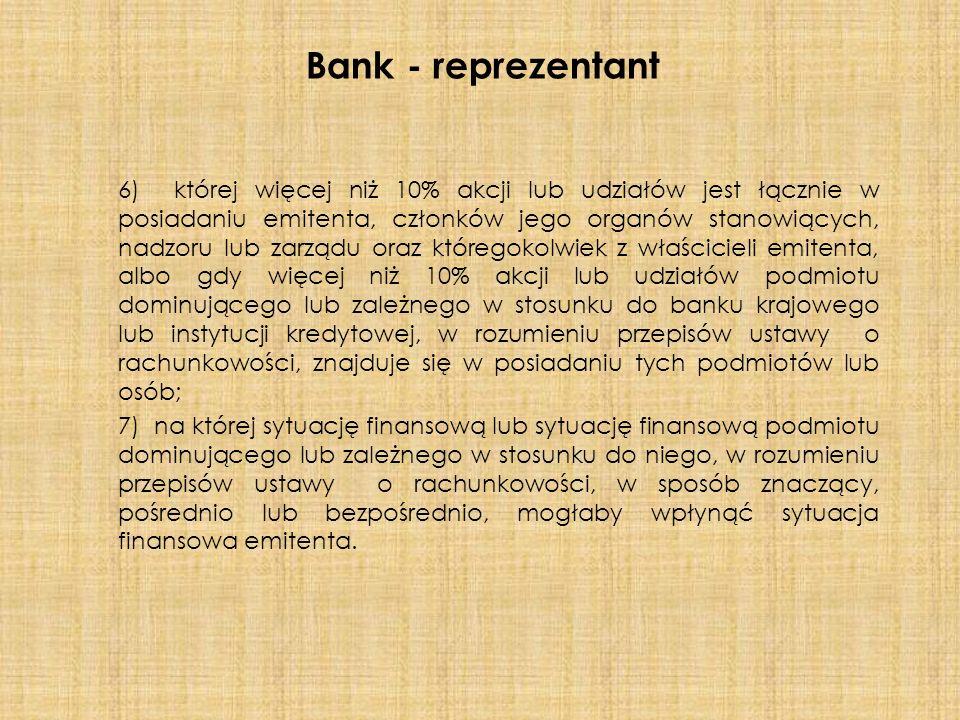 6) której więcej niż 10% akcji lub udziałów jest łącznie w posiadaniu emitenta, członków jego organów stanowiących, nadzoru lub zarządu oraz któregokolwiek z właścicieli emitenta, albo gdy więcej niż 10% akcji lub udziałów podmiotu dominującego lub zależnego w stosunku do banku krajowego lub instytucji kredytowej, w rozumieniu przepisów ustawy o rachunkowości, znajduje się w posiadaniu tych podmiotów lub osób; 7) na której sytuację finansową lub sytuację finansową podmiotu dominującego lub zależnego w stosunku do niego, w rozumieniu przepisów ustawy o rachunkowości, w sposób znaczący, pośrednio lub bezpośrednio, mogłaby wpłynąć sytuacja finansowa emitenta.