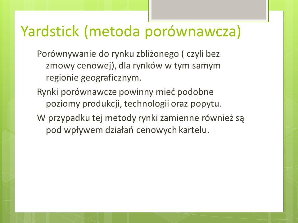 Yardstick (metoda porównawcza) Porównywanie do rynku zbliżonego ( czyli bez zmowy cenowej), dla rynków w tym samym regionie geograficznym.