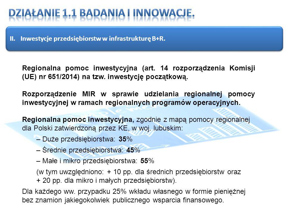 II.Inwestycje przedsiębiorstw w infrastrukturę B+R.